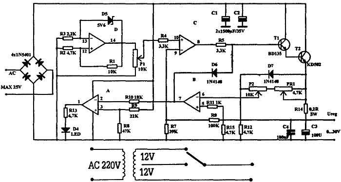 Схема блока питания на 30В 2А.