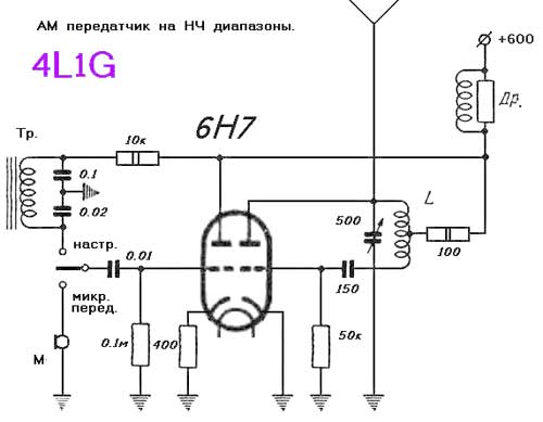 Ламповый АМ передатчик на частоту 3 МГц