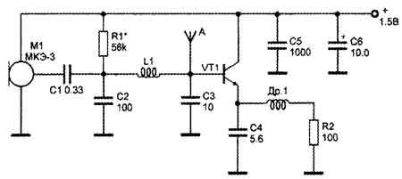 Схема микропередатчика, выполненного на транзисторе, приведена на рис. 23.gif.  Модулирующее напряжение, снимаемое с...