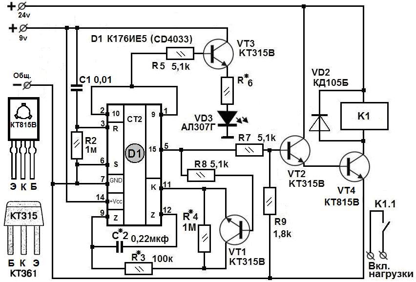 Таймер для инкубатора. (На К176ИЕ5, имп. аналог CD4033) NiceTV